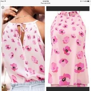 NWT CAbi 5218 Tie back Floating Poppies Tank Top M